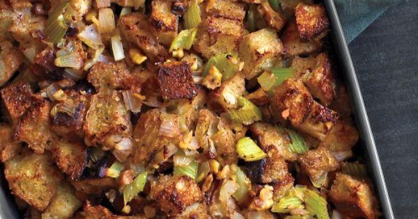 Mushroom and Walnut Stuffing Recipe | Martha Stewart, (use whole wheat bread)