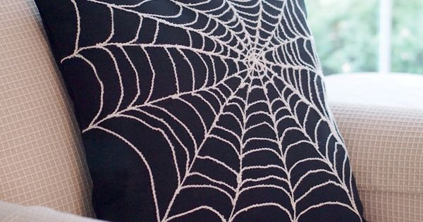 Spider Web Pillow Cover Arachnophobia Spiderweb Halloween Decor 18 x 18 (could
