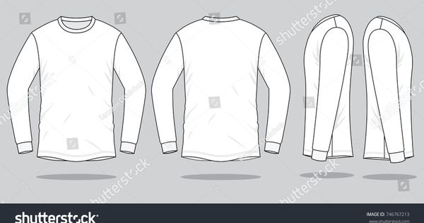 Download White Long Sleeve T Shirt For Template Front Back And Side Views Sleeve Shirt White Long White Long Sleeve Tshirt Shirt Sketch Shirt Template