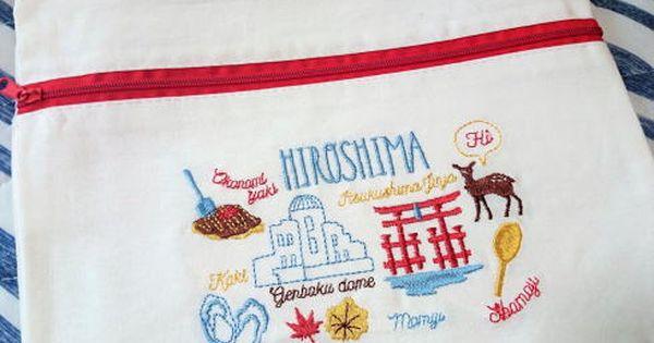 3コインズ 人気刺繍ポーチにご当地バージョン 広島 大阪 京都など7柄 3コインズ 大阪 京都 ポーチ