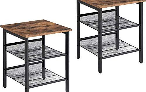 Vintage Nesting Coffee Tables Set of 2 Stacking Nightstand Table for Small Space