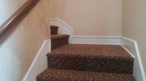 Custom Stair Skirt Installed After The Carpet Was In Stairs   Carpet Strips For Steps   Curved Stair   Striped   Gorgeous   Stairway   Middle Stair