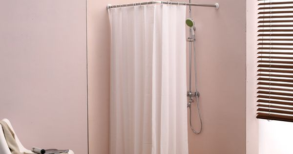 L Bathroom Curtain Cloth Hanging Rod Corner Shower Curtain Rod Right Angle Adjustable Length
