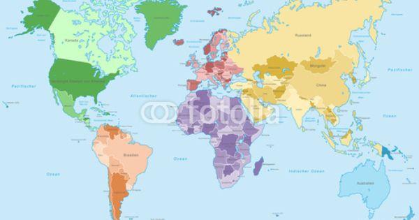 Vektor Weltkarte Einzelne Kontinente In Farbe Hoher Detailgrad