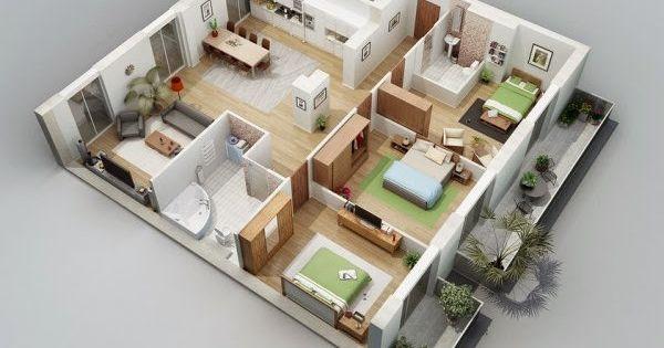 Gambar denah rumah minimalis denah rumah minimalis for 4 bedroom 3d floor plan