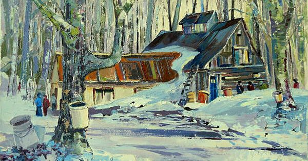 Winter painting original oil painting quebec painting for Home decor quebec