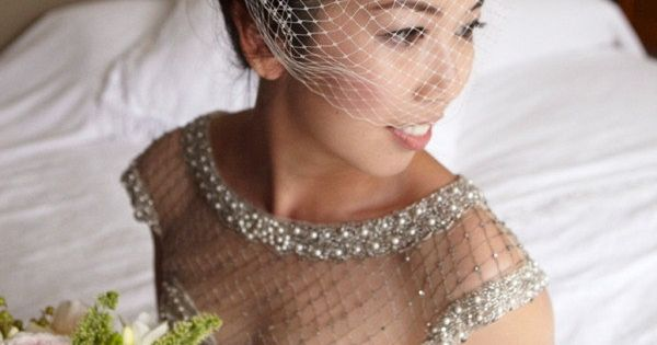 a classic Birdcage veil looks gorgeous with this collettedinnigan.... dress Photography by