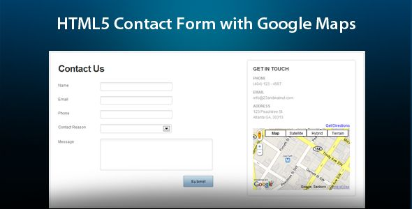HTML5 Ajax Contact Form With Google Maps | Html contact form ...