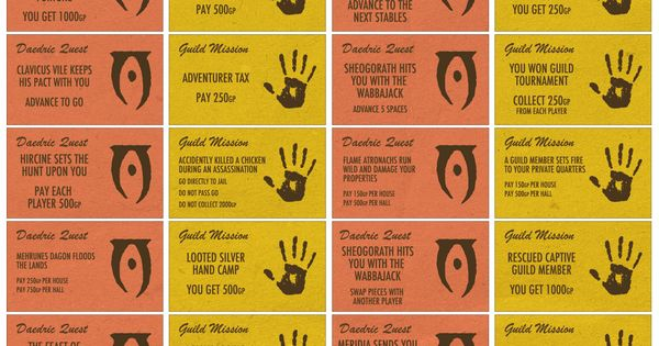 Make Your Own Skyrim Monopoly Cards Print These Out To