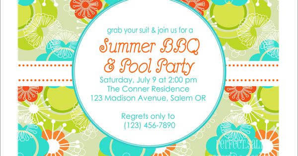 Printable summer party invitation pool party summer for Pool design reunion