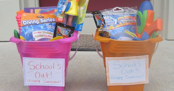 End of the school year summer fun buckets--very cool idea!