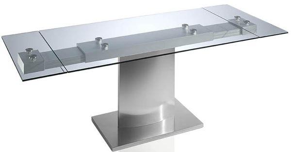 Mesa de comedor de cristal templado con dos extensibles y - Mesas de comedor cristal y acero ...