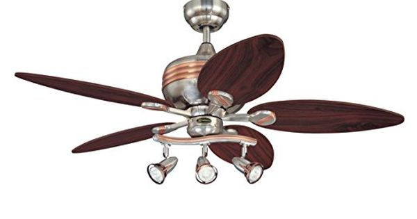 Westinghouse 7226520 Xavier 44 Inch Five Blade Indoor Ceiling Fan With Three Spotlights Brushed Nic Ceiling Fan With Light Ceiling Fan Light Cover Ceiling Fan