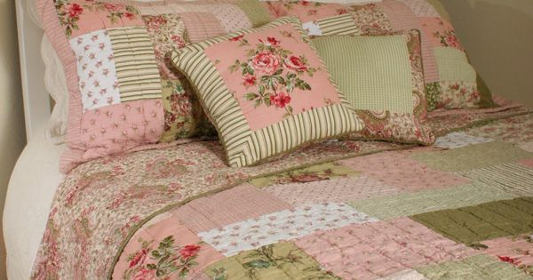 Shabby N Chic Roses Queen 6pc Quilt Shams Bedskirt Throw Pillows Set
