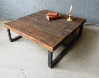 Industrial Chic Reclaimed Coffee Table Tv Unit Stand Steel Etsy Custom Coffee Table Coffee Table Wood Handmade Coffee Table