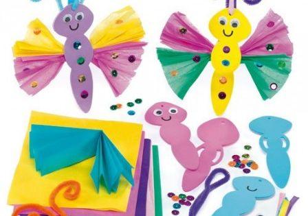 Enfant bricolage printemps papillon avec mousse et papier froisse activites facile periscolaire - Bricolage enfant 4 ans ...