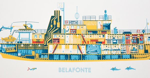 Alex pearson the belafonte poster wes anderson life aquatic illustration amazing - Wes anderson coffee table book ...