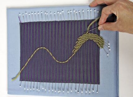 Create Intricate Fabric With Pin Weaving - Threads. Good way to use