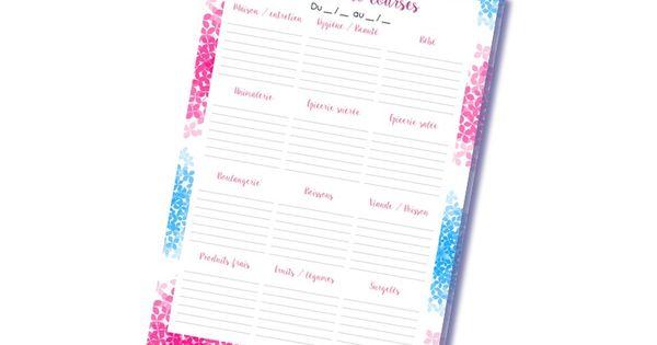 bloc notes listes de courses accro l 39 organisation id es pinterest bloc courses et. Black Bedroom Furniture Sets. Home Design Ideas
