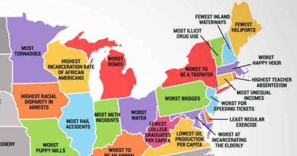 What Every State In The U S Is Worst At Including North Dakota