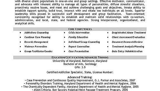 Addiction Specialist Sample Resume Best Admission Paper