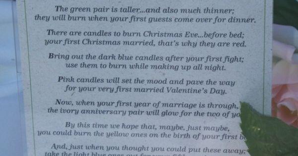 Candle Poem For Wedding Gift: Bridal Shower Gift: Candle Poem Basket