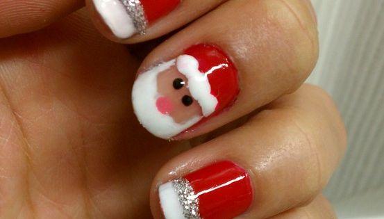 So cute; Christmas nail art; Santa Claus nail art; Holiday nails; nailart