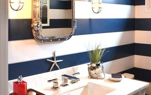 Nautical Colors For Bathroom: Nautical Bathroom With Navy Blue Striped Walls: Http://www