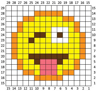 Crazy Face Emoji C2c Square And Pixel Graph Repeat Crafter Me Pixel Crochet Kiss Emoji Crochet Heart Blanket