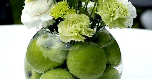 Green center piece, lots of fruit ideas