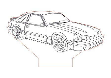 Ford Mustang Gt87 Foxbody 3d Illusion Lamp Plan Vector File For Laser And Cnc 3bee Studio Mustang Drawing Mustang Art Cars