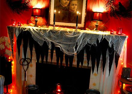 halloween fireplace mantels ideas with great lighting