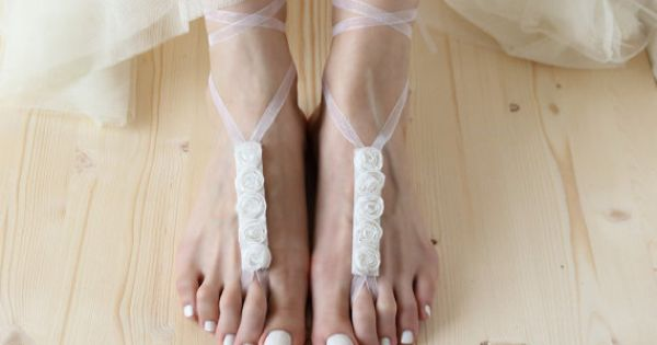 Bohemian Bridal Nude Shoes, Wedding Barefoot Sandals, Hippie Beach Soleless Sandles, Boho Victorian, Yoga Anklet Jewelry by Elvish Things.