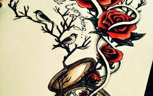 Possible tattoo design / Rose tattoo / pocketwatch tattoo / time heals
