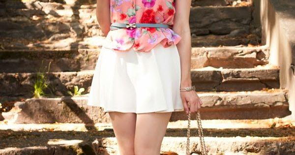 s pink floral vest white skater skirt white