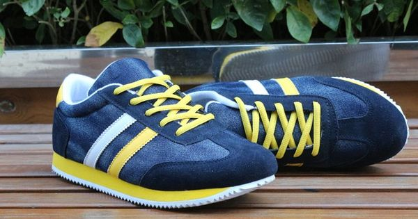 Mens #yellow casual denim lace up #sneakers sport shoes stripe pattern, denim upper and mesh lining. | See more about Stripe Pattern, Yellow Stripes and Sneakers.