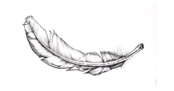 Angel wing white feather tattoo.