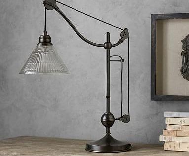 Bodhi Industrial Ribbed Task Table Lamp Bronze Table Lamp Lamp Glass Table Lamp
