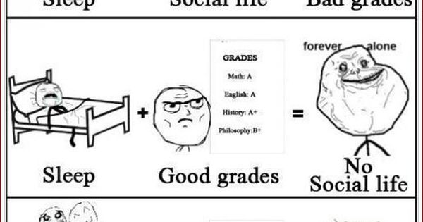 """Sleep"" Vs ""Social Life"" Vs ""School Grades"" - Posted in Funny, Troll"