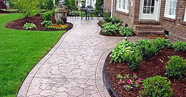 Concrete Sidewalk Stamped Cobble Stone Concrete Walkways