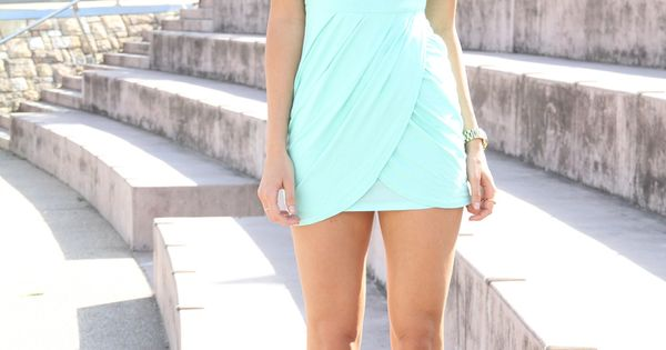 Adorable mint mini summer dress fashion. A little too short but I