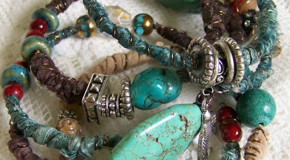 Handmade Gypsy Bangle Bracelet Stack Turquoise Southwestern Bracelet Set | See more about Bangle Bracelets, Bracelets and Bracelet Set.