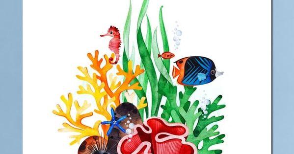 Ilustrasi Hewan Dan Kehidupannya Jual Foto Poster Ilustrasi Hewan Dan Tanaman Dasar Laut Underwater 92 Gambar Ilustrasi Ilustrasi Ilustrasi Hewan Ilustrator