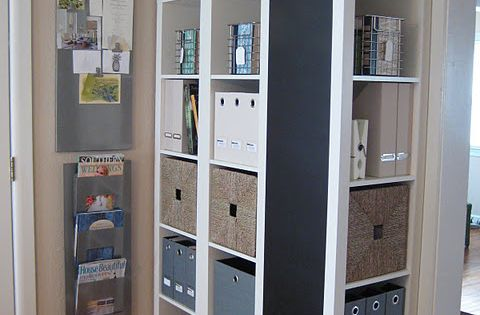 3 bookshelves from Ikea--one turned sideways with chalkboard paint. Craft room idea