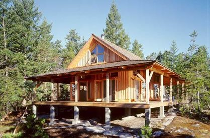 Plans For A Simple One Room Cabin With A Wrap Around Deck Small Lake Houses Porch House Plans Small Cabin Plans