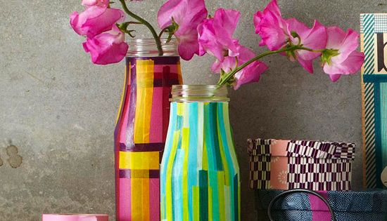 DIY Ideas: Creative Flower Vases with Colorful Tape