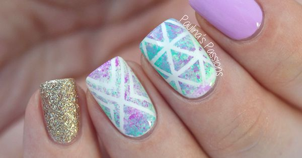 Watercolor Geometric Nails by Paulina's Passions