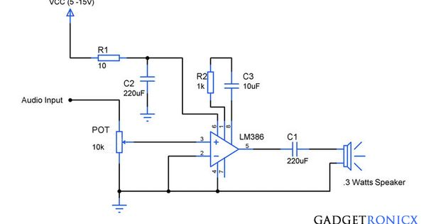 Here Is The Circuit For The Ruby Lm386 Amplifier