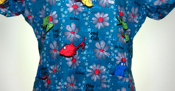 Caringplus scrub top dr seuss one fish two fish red for Blue fish pediatrics