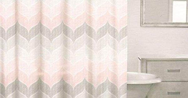 Caro Home 100 Cotton Shower Curtain Wide Stripes Chevron Fabric Shower Curtain Zig Zag White